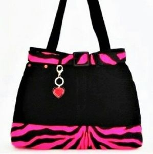 Black Jeans Bag Upcycled Pink Zebra Accents Large
